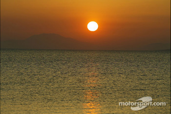 The sun rises over Greece
