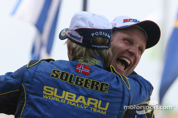 Podium: third place Petter Solberg and Phil Mills