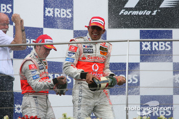 2nd place Fernando Alonso, McLaren Mercedes and 1st place Lewis Hamilton, McLaren Mercedes