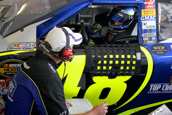 Jimmie Johnson consults with crew chief Chad Knaus