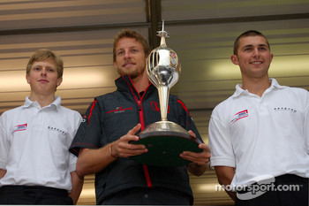 Jenson Button, Honda Racing F1 Team, receives the Hawthorn memorial trophy
