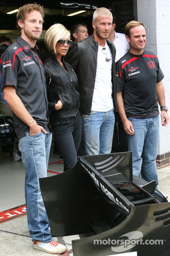 Jenson Button, Honda Racing F1 Team , Victoria and David Beckham, Rubens Barrichello, Honda Racing F1 Team