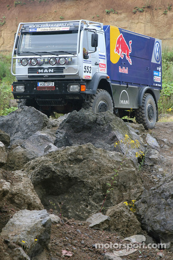 Volkwagen Dakar truck on display at the outdoor track at a Red Bull Event