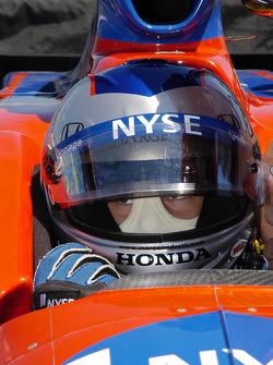 Marco Andretti listens