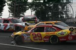 Juan Pablo Montoya and Kevin Harvick crash