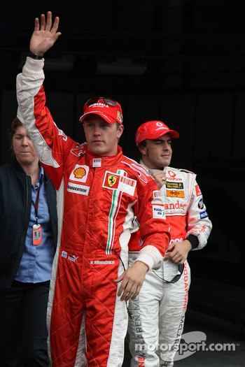 Qualifying results 1st place Kimi Raikkonen, Scuderia Ferrari and 3rd place Fernando Alonso, McLaren Mercedes