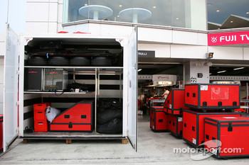 Containers outside Toyota Racing