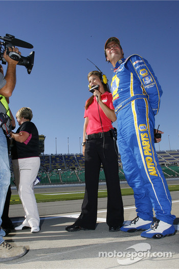 Michael Waltrip talks with ESPN's Jamie Little