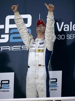 Timo Glock celebrates winning the 2007 GP2 Series title on the podium