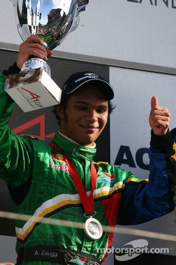 Podium, Adrian Zaugg, driver of A1 Team South Africa