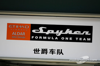 Spyker F1 Team, pitlane sign