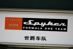 Spyker F1 Team, pitlane sign