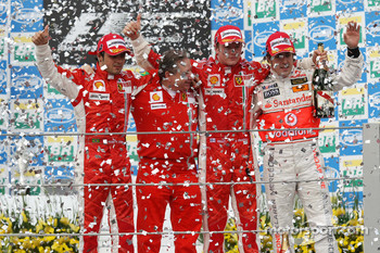 Podium: race winner and 2007 World Champion Kimi Raikkonen, second place Felipe Massa, third place Fernando Alonso, and Jean Todt