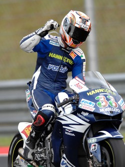 Second place Marco Melandri celebrates