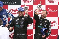 GT1 podium: FIA GT1 drivers 2007 champion Thomas Biagi celebrates with Michael Bartels