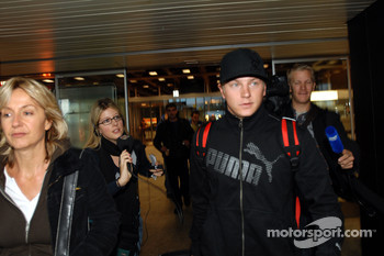 Kimi Raikkonen arrives at the Zürich airport Kloten with his family and his wife Jennie
