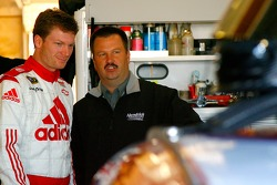 Dale Earnhardt Jr. speaks with crew chief Tony Eury Jr. before driving his first laps for his 2008 team