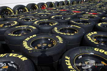 Scores of Goodyear tires wait to be used by Nextel Cup teams