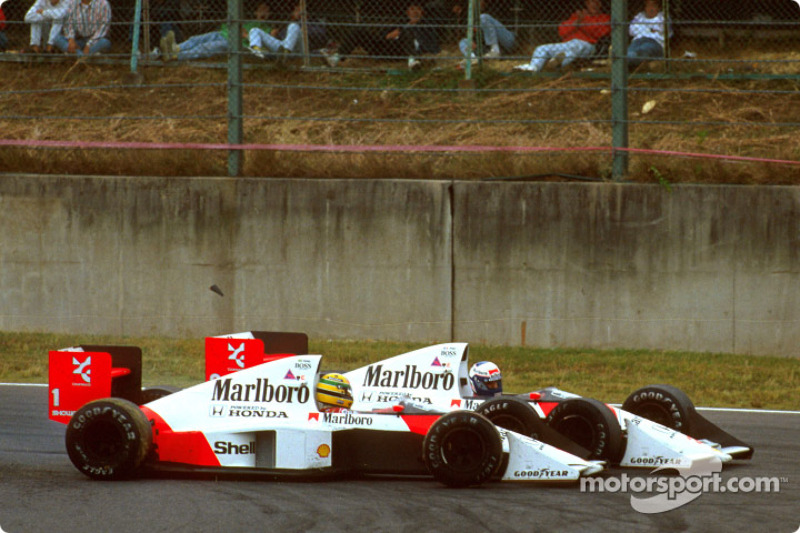 The infamous crash of Ayrton Senna and Alain Prost on lap 46