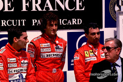 F1: Podium: race winner Alain Prost with Ayrton Senna and Michele Alboreto