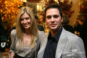 Chandra and Jimmie Johnson pose for a photo at the 2007 Champion's Dinner at the Waldorf Astoria