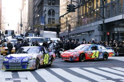 Jimmie Johnson, the 2007 NASCAR Nextel Cup Champion leads Nextel Cup Series drivers in a victory lap through the streets of Midtown New York City