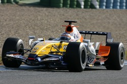 Slick tyres on the car of Nelson A. Piquet, Test Driver, Renault F1 Team