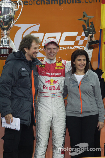 Podium: Race of Champions winner Mattias Ekström celebrates with Fredrik Johnsson and Michèle Mouton