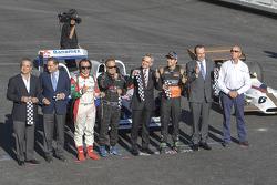 Alejandro Soberón Director of CIE, Emerson Fittipaldi, Héctor Rebaque, Miguel Angel Mancera, head of the Mexico City government, and Sergio Pérez, Sahara Force India