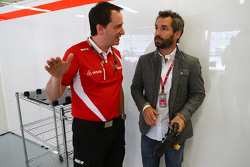 (L to R): Gianluca Pisanello, Manor F1 Team Chief Engineer with Timo Glock,