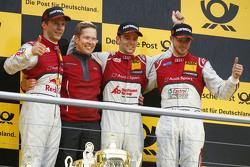 Podium: race winner Jamie Green, Audi Sport Team Rosberg, second place Mattias Ekström, Audi Sport Team Abt Sportsline, third place Edoardo Mortara, Audi Sport Team Abt