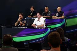 The FIA Press Conference: Matthew Carter, Lotus F1 Team CEO; Dr. Vijay Mallya, Sahara Force India F1 Team Owner; Franz Tost, Scuderia Toro Rosso Team Principal; Christian Horner, Red Bull Racing Team Principal; Eric Boullier, McLaren Racing Director