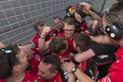 Winner Jack Perkins, Holden Racing Team celebrates with his team