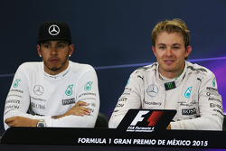 Lewis Hamilton, Mercedes AMG F1 and race winner Nico Rosberg, Mercedes AMG F1 in the post race FIA Press Conference