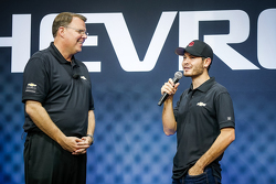 General Motors U.S. Vice President Performance Vehicles and Motorsports Jim Campbell with Kyle Larson