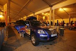 Volkswagen works team at scrutineering