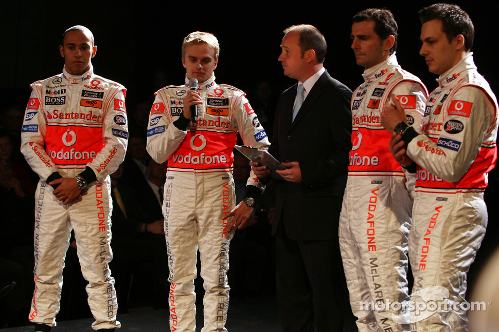 Lewis Hamilton, Heikki Kovalainen, Pedro de la Rosa and Gary Paffett