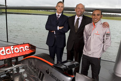 Lewis Hamilton poses with Martin Whitmarsh  and Ron Dennis