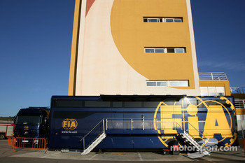 FIA truck in the Valencia paddock