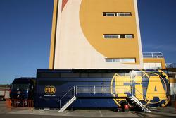 FIA truck in the Valencia paddock