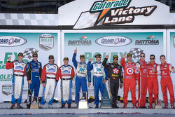 DP podium: class and overal winners Dario Franchitti, Juan Pablo Montoya, Scott Pruett and Memo Rojas, second place Jon Fogarty, Alex Gurney, Jimmie Johnson and Jimmy Vasser, third place Ryan Briscoe, Kurt Busch and Helio Castroneves