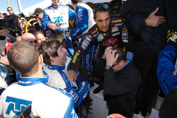 Juan Pablo Montoya and team members celebrate win