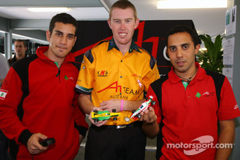 Chris Alajajian, driver of A1 Team Lebanon, John Martin, driver of A1 Team Australia and Khalil Beschir, driver of A1 Team Lebanon with Scalextric