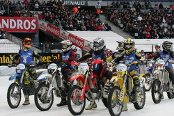Motorcycle riders on the grid