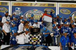 Victory lane: Ryan Newman's crew chief, Roy McCauley, gets a shower of ice water as the crew celebrates the Daytona 500 victory