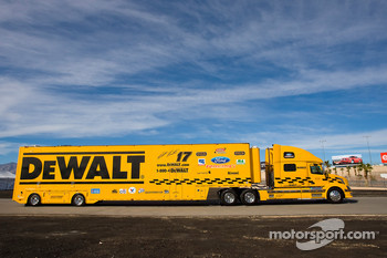 The DeWalt team hauler makes its' way into the Las Vegas Motor Speedway
