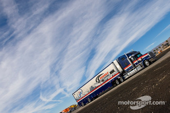 The Miller Lite team hauler makes its' way into the Las Vegas Motor Speedway