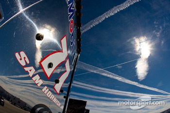 The Mobil 1 team hauler makes its' way into the Las Vegas Motor Speedway