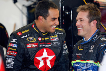 Juan Pablo Montoya talks with J.J. Yeley