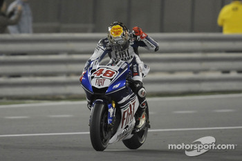Jorge Lorenzo celebrates second place